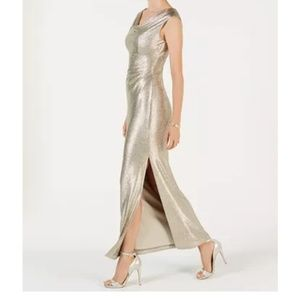 Metallic Cowl-Neck Gown Size 10